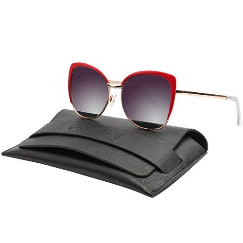 Vivienfang Halbrand übergroßen Katzenaugen Sonnenbrille Women's Polarized Oversized Sunglasses 86447A Red