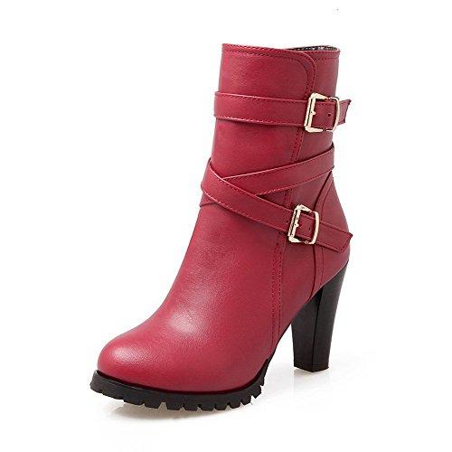 AllhqFashion Damen Hoher Absatz Rund Zehe PU Leder Stiefel mit Metallisch, Rot, 36