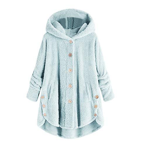 iHENGH Damen Herbst Winter Bequem Mantel Lässig Mode Jacke Mode Frauen Knopf Mantel Flauschige Schwanz Tops Mit Kapuze Pullover Lose Pullover