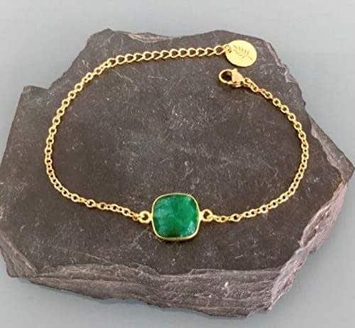 Bracciale con gemma di smeraldo placcato oro 24K, bracciale in oro, idea regalo, bracciale in smeraldo, gioielli, gioielli in oro