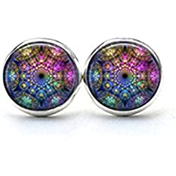Fractal abstracto Mandala pendientes, curación espiritual Yoga Ear Studs Joyería Joyas Azul Púrpura Rosa