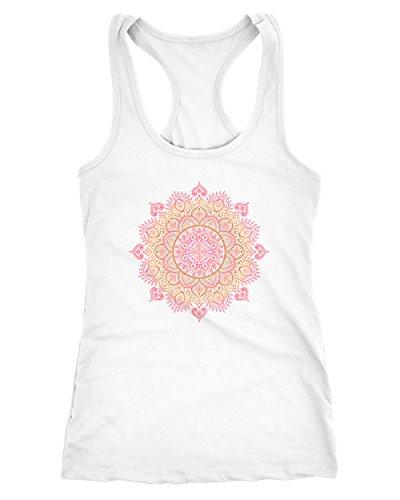 Neverless Damen Tank-Top Mandala Ethno Boho Bohemian Racerback weiß-pink S -