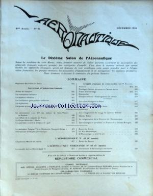 AERONAUTIQUE [No 91] du 01/12/1926 - LE 10EME SALON DE L'AERONAUTIQUE - LES VIONS ET HYDRAVIONS FRANCAIS - CROQUIS ORIGINAUX DE CONSTRUCTION - L'AEROTECHNIQUE - L'AERONAUTIQUE MARCHANDE