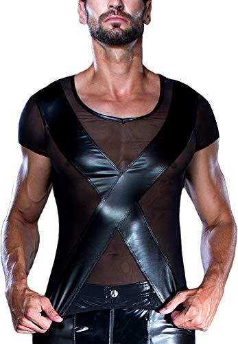 Preisvergleich Produktbild Catanzaro Herren T-Shirt MATT Netz vorn Wetlook Kreuz Patrice (Schwarz, L)