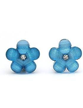 Idin Ohrclips - Blaue Blumen mit Strassstein und Kristalleffekt (ca. 17 x 17 mm)