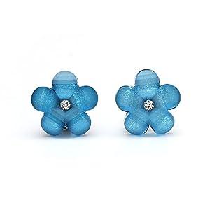 Idin Ohrclips – Blaue Blumen mit Strassstein und Kristalleffekt (ca. 17 x 17 mm)