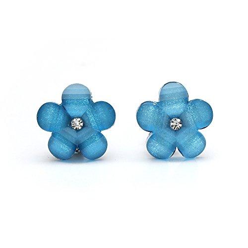 Idin Orecchini a clip - Fiore blu con strass e effetto cristallo (ca. 17 x 17 mm)