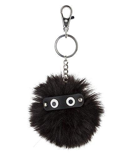 cheliger schwarzer Trend Pompom Puschel Bommel mit aufgesetzten Augen, plüschiger Schlüssel Taschen Anhänger Fake Fur (436-286) ()