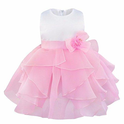 iEFiEL Vestido de Bautizo Princesa para Niñas y Bébes de Varios Colores de Organza Vestido de Fiesta Rosa 6-9 meses