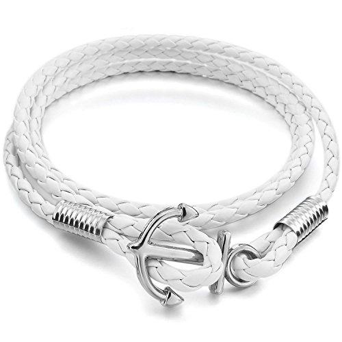 Mendino Jewellery Geflochtenes Damen- oder Herren-Leder-Armband als Kordel mit Anker, handgefertigt, Farbe: weiß
