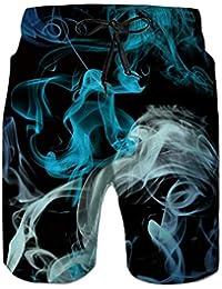 b00cd2c4d6 Idgreatim Men's Swim Trunk 3D Print Graphic Summer Beach Shorts Surfing  Trunks