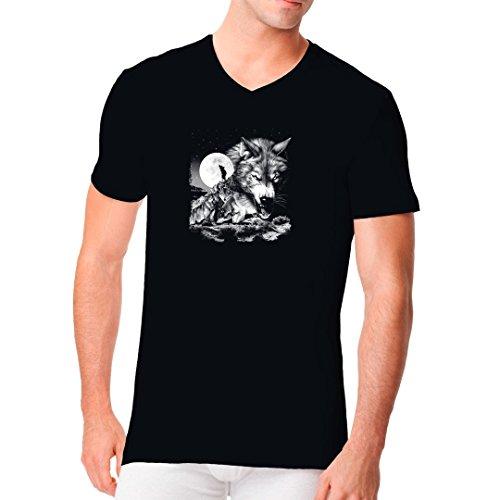 Fun Männer V-Neck Shirt - Wolfsrudel - Oversize Motiv by Im-Shirt Schwarz