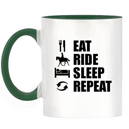 EAT Ride Sleep Repeat-Reiten Design zweifarbiges Becher mit Dunkle Grün Griff & Innen -