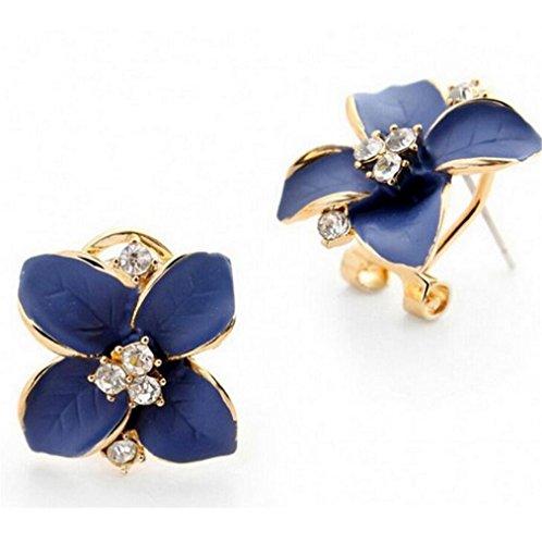 Wiftly Pour Femme Homme Fille Fantaisie Boucles d'oreilles Fleur de Heureux Avec Zirconium -Bleu