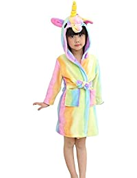 EuHigh Les Enfants Peignoirs Mignons Confortable Robe D'intérieur Flanelle Souple Matière Dessin Animé Licorne À Capuchon Vêtements De Nuit