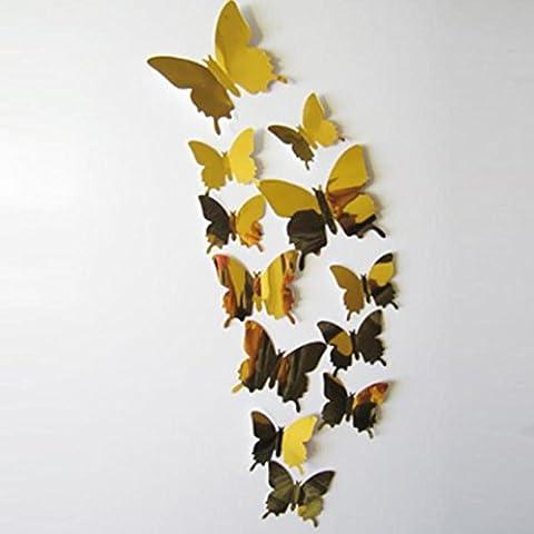 Lanspo Wandaufkleber Aufkleber Schmetterlinge 3D Spiegel Wand Kunst Home Decors Aufkleber für Kühlschrank, Schlafzimmer Wand, Küche Wand Dekore 12PCS (Gold)