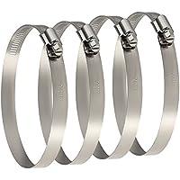 TUPARKA 4 Pack Clips de manguera de metal de gran tamaño 91-114 mm Abrazaderas de ductos ajustables Clip de jubileo para asegurar mangueras y tubos Tubo