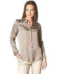 Laura Moretti - Camisa o Blusa de viscosa de manga larga con cuello mao y raya diplomática