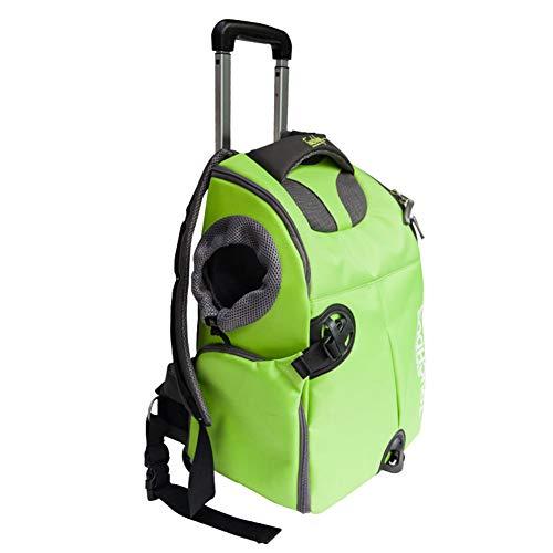 Tragbare Stange ziehen Gepäck Wasserdichtes Oxford-Tuch Haustier Rucksack,Reise Handtasche für Haustiere Reißfestes Haustier Autopaket Transport Umhängetasche,Green -