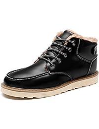 0a78370516 Botas De Nieve para Hombre Botas CáLidas con Tobillo Y Piel Cuero Dividido  Zapatos Casuales con