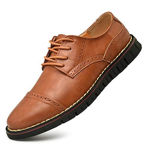 Brogue Oxford con Cordones,Zapatos de Cuero Hombre Negocios Vestir Derby Informal Boda Calzado Mocasines...