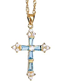 Joyer¨ªa de se?ora Fashion Cross Corte oro de zafiro collar plateado Regalo Colgante