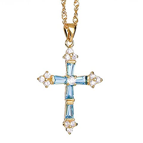 Rizilia Jewellery 18K Yellow Gold Plated Crucifix Cross Aquamarine & White Topaz Color 3 Gem Stone Slide Pendant Necklace With (Length 48cm/18inch ) Curb Chain [Free Jewelry