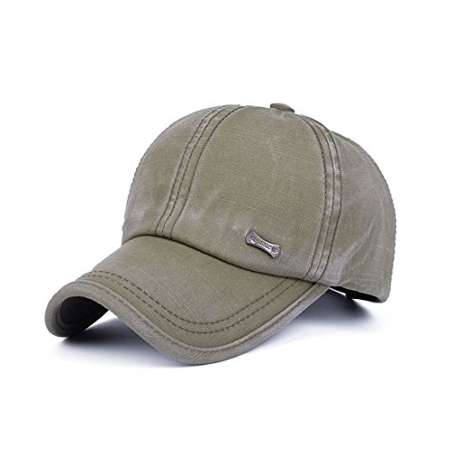17f14edac6568e Sunbo Vintage Adjustable Cotton Snapback Men Baseball Cap Solid Hat Army  Green