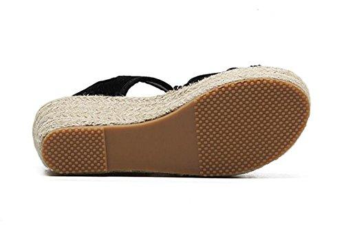 LDMB Frauen Sommer Sommer Sydney Gras Wedge Heels Peep Toe Sandalen Black