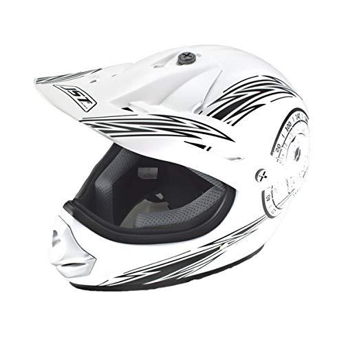 Saferide | Helm Motorrad Weiß-Schwarz Matt 51-52 cm Quad Roller Cross Kinder ab 3 Jahre Enduro Regenschutz Sturzhelm Motorradhelm Jugendliche Kleinkind Schutzhelm Kinderhelm Moped Mofa