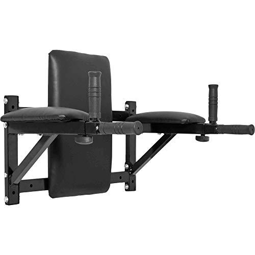 Gorilla Sports Wall-Mounted Dip Station - Entrenador de tronco y abdominales para montaje en pared, carga máxima 200 kg, negro, 68 x 52 x 50 cm