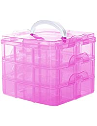 EasyBuy India Pink : Portable Transpat 3 Layers Detachable Storage Container Organizer Tools Box Case Boxes Jewelry...