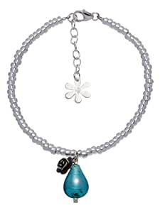 Valentina Rose and Genuine Murano Teal Drop Glass Conterie Sterling Silver Bracelet of Length 18.5-22 cm