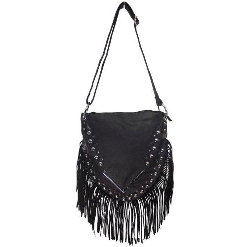 UKFS Quasten Hazel Schultertasche / Designer Damen Fringe Leather Effect Handtasche (Schwarz) Schwarz
