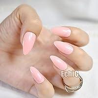 echiq Fashion rosa Lotus Color Oval Sharp End Stiletto uñas postizas manicura uñas postizas Tips Uñas Postizas.