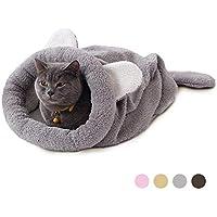 Eono Essentials Saco de Dormir para Gatos Bolsa para Mascotas Suave Cálido Lavable Cama de Gato Snuggle Saco de Manta Manta para Gatito Cachorro Pequeños Animales Gris