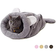 Eono Essentials Gatto Sacco a Pelo Animale Domestico Marsupio Morbido Caldo Lavabile Gatto Letto Rannicchiarsi Sacco Coperta Stuoia per Piccoli Animali Grigio