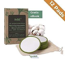 heikii® 12x waschbare Abschminkpads aus reiner Baumwolle INKL. EBOOK und Wäschebeutel aus 100% Baumwolle