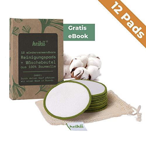 heikii® 12x waschbare Abschminkpads aus reiner Baumwolle INKL. EBOOK und Wäschebeutel aus 100% Baumwolle -