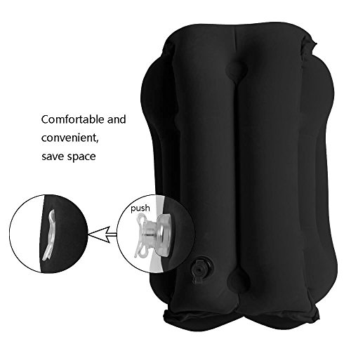 Travel Pillow, Wuudi Portable Inflatable Pillow, Large Neck Pillow with Full Body and Head Support, Multifunctional Nap Pillow for Airplanes, Cars, Buses, Trains, Office, Camping (Black)