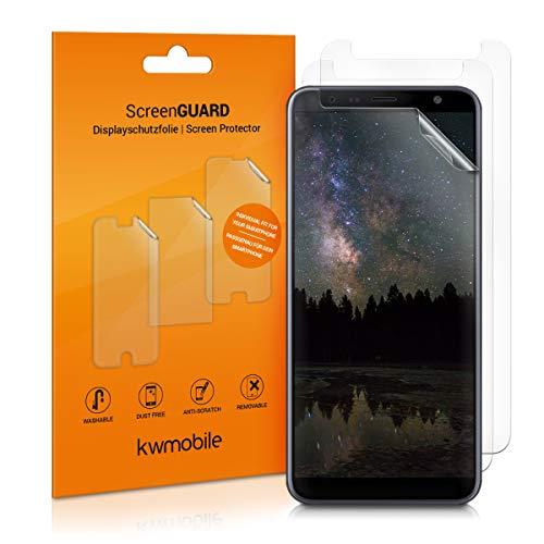 kwmobile 3X Folie für Samsung Galaxy J6+ / J6 Plus DUOS - klare Bildschirmschutzfolie Bildschirmschutz Crystal Clear kristallklar Bildschirmfolie Schutzfolie