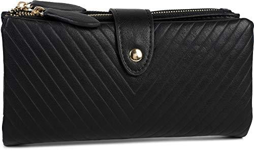 styleBREAKER Damen Portemonnaie mit V-Förmig geprägter Struktur, Druckknopf, Reißverschluss Geldbörse 02040124, Farbe:Schwarz -