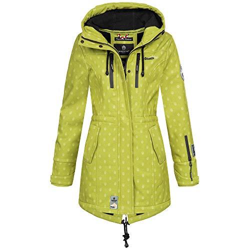 Marikoo ZIMTZICKE Damen Jacke Softshelljacke Winterjacke Regenjacke Outdoor XS-XXL 8-Farben, Größe:S, Farbe:Grün - gepunktet