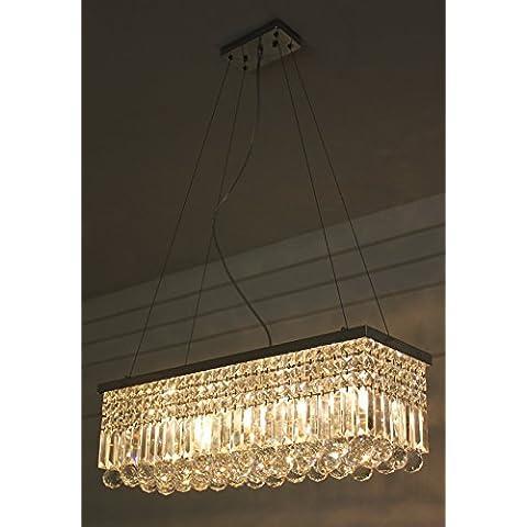 LINA-Moderno e di lusso minimalista in acciaio inossidabile di forma rettangolare k9 lampada di cristallo lampadario ristorante creative - Rettangolare Pendente A Forma