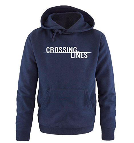 Comedy Shirts - CROSSING LINES - Uomo Hoodie cappuccio sweater - taglia S-XXL vari colori blu navy / bianco