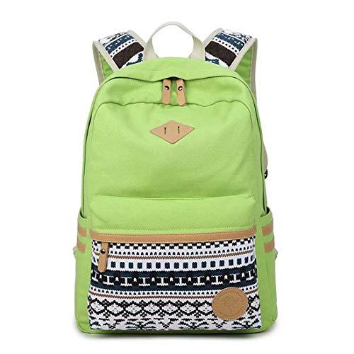 HEZET Mode Mann und Frau nationalen Handtasche Wind große Kapazität Student Canvas Tasche Umhängetasche Multifunktions Rucksack grün Klassische Tasche - Grüne Klassische Aktentasche