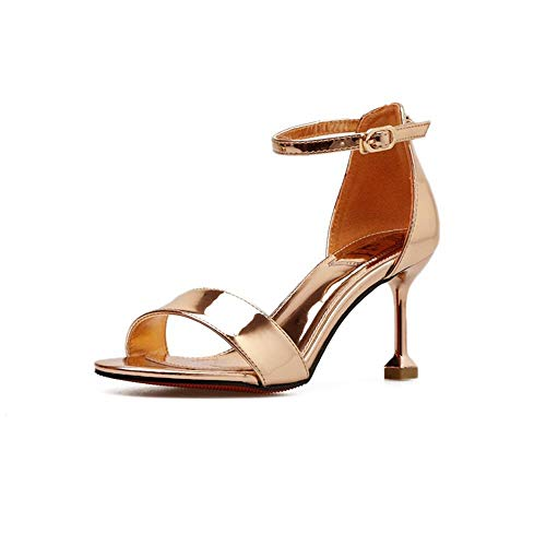 Shengjuanfeng Sexy offene Spitze lackiertem Leder Schuhe high Heel Stiletto Sandalen (Farbe : Champagner, Size : 37)