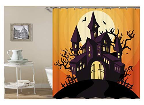 Coniea Vorhänge Für Bad Halloween-Thema Schloss Und Schläger Duschvorhang Bunt Duschvorhang Antischimmel 90X180Cm