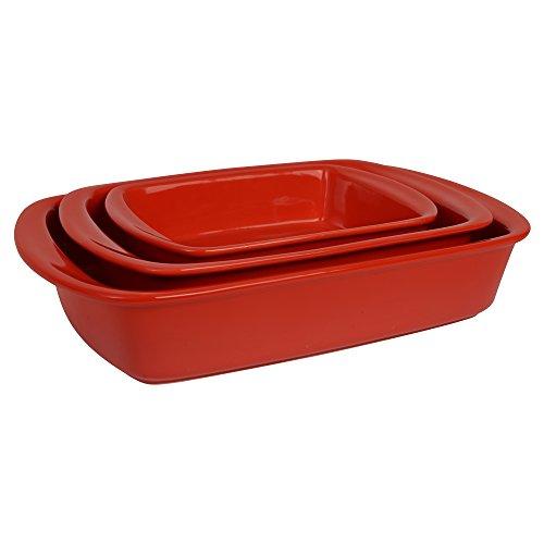 ProCook Auflaufform, Ofenform, Steinzeug, 3-teiliges Set, rot