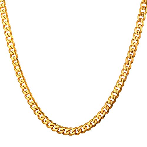 Lafeil Edelstahl Herren Gold panzerkette 76cm lang 9mm breit Hip Hop Rock Halskette Biker
